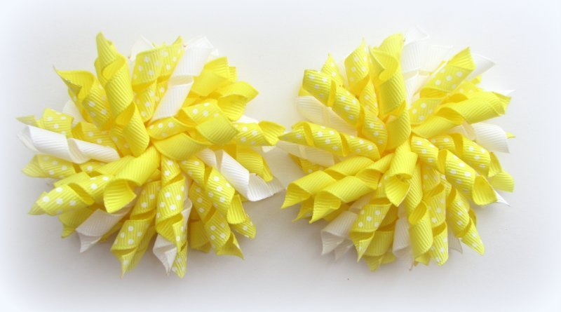 Lemon Polka Dots Korker Hair Bows