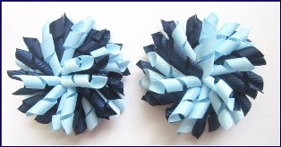 Navy Light Blue Korker Hair Bows