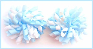 Pale Light Blue White Korker Hair Bows