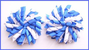 Light Royal Blue & White Korker Hair Bows