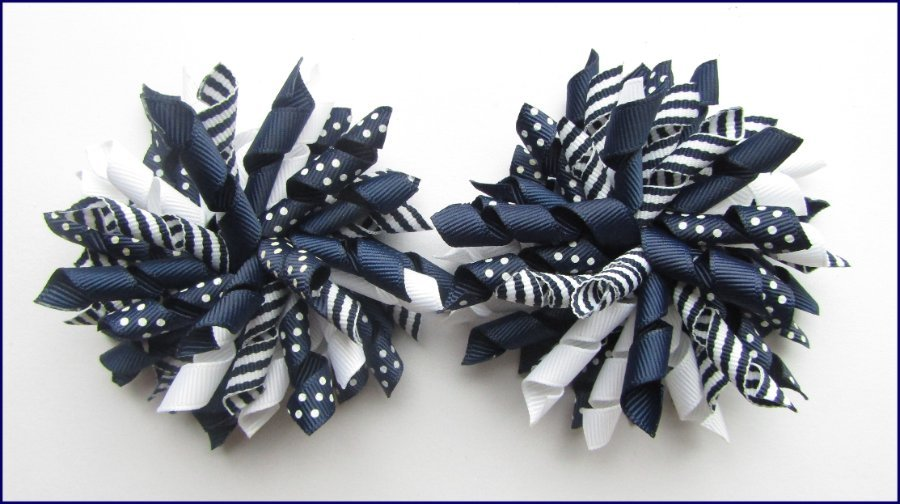 Navy Blue Dot Stripe Mix Korker Hair Bows