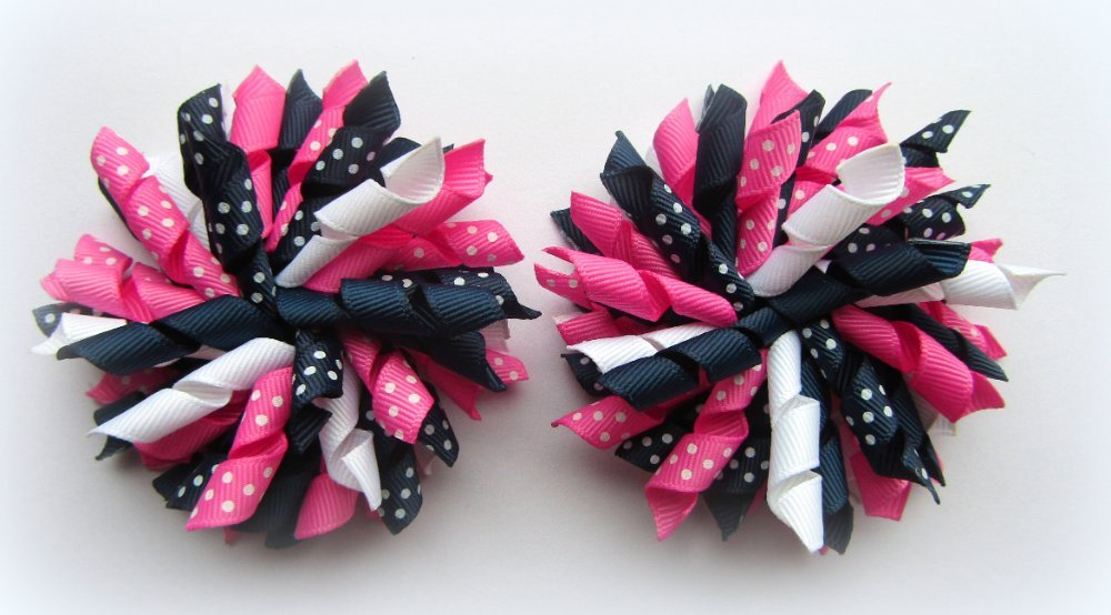 Navy Hot Pink White Polka Dot Korker Hair Bows