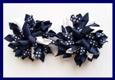 Navy Blue Polka Dots Korker Hair Bows