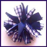 Navy Blue Gingham Firecracker Hair Bow