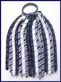 Navy Blue Gingham Korker Ponytail Streamer