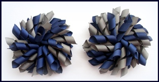 Navy Blue Dark Grey Korker Hair Bows