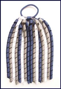 Navy Blue Dark Grey White Korker Ponytail Streamer