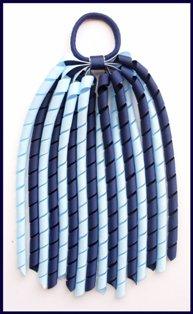 Navy Blue Light Blue Korker Ponytail Streamer