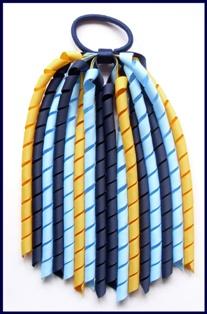Navy Blue Light Blue Yellow Gold Korker Ponytail Streamer