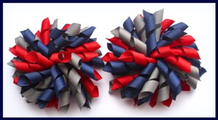 Navy Blue Red Dark Grey Korker Hair Bows
