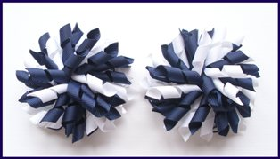 Navy Blue & White Korker Hair Bows