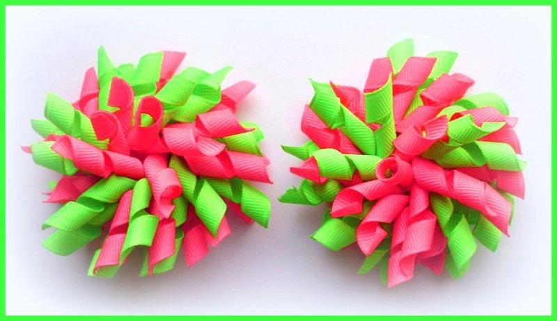 Neon Pink Green  Korker Hair Bows