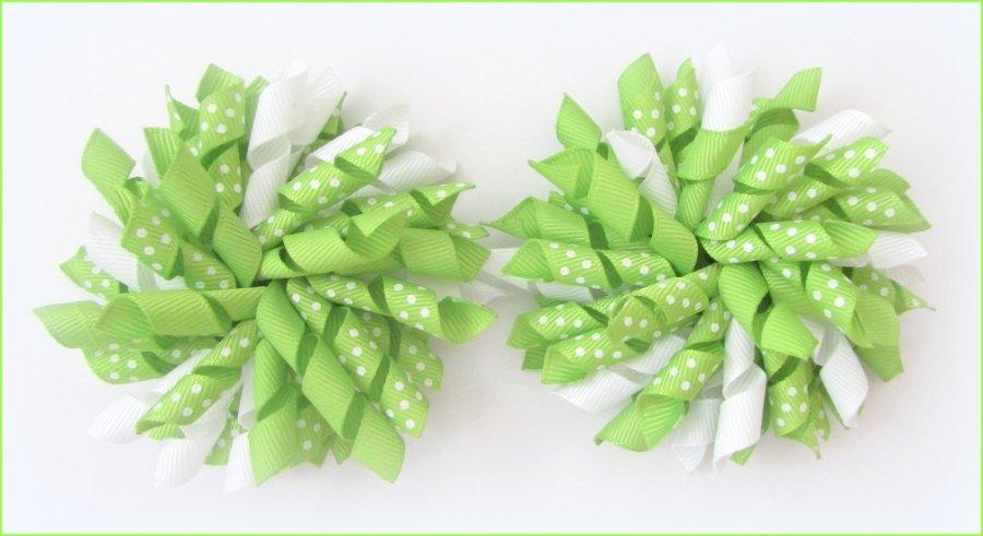 Apple Green Polka Dots Korker Hair Bows