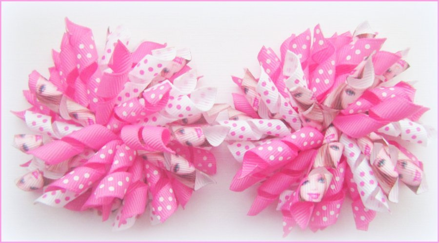 Hot Pink Barbie Korker Hair Bows