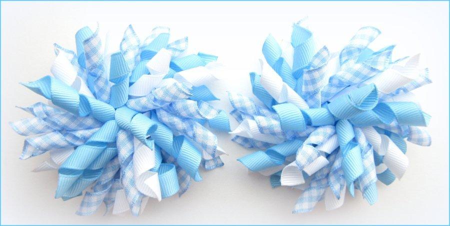 Blue Gingham Korker Hair Bows