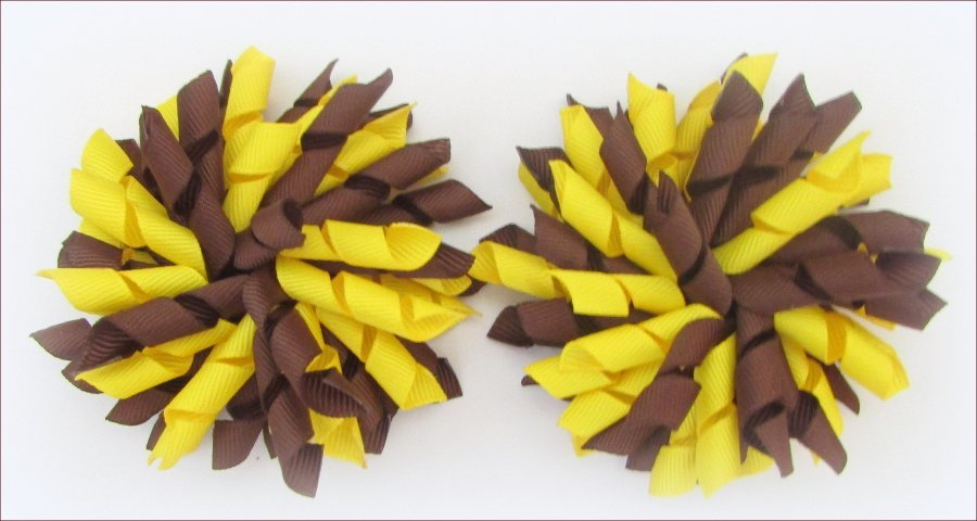 Brown Yellow Brownies Uniform Korker Hair Bows