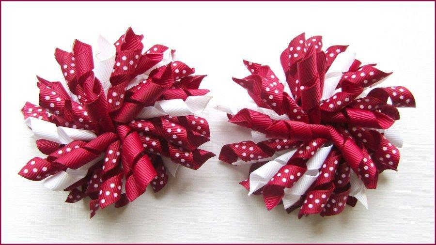 Burgundy Polka Dots Korker Hair Bows