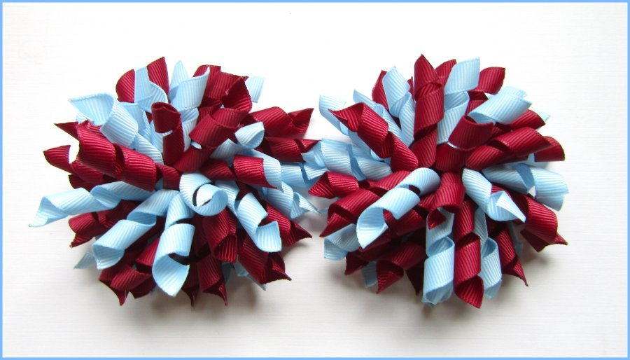 Burgundy Light Blue Korker Hair Bows