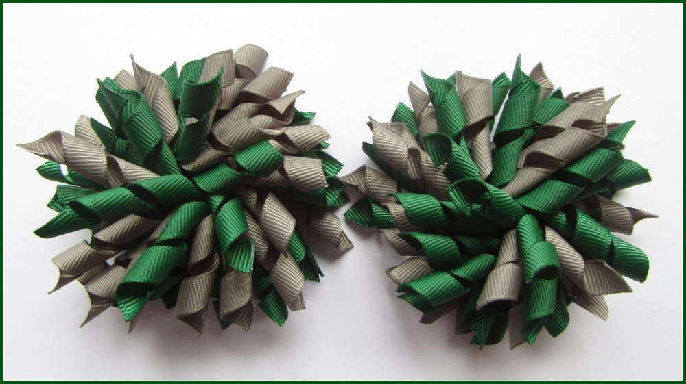 Dark Green Grey School Korker Hair Bows