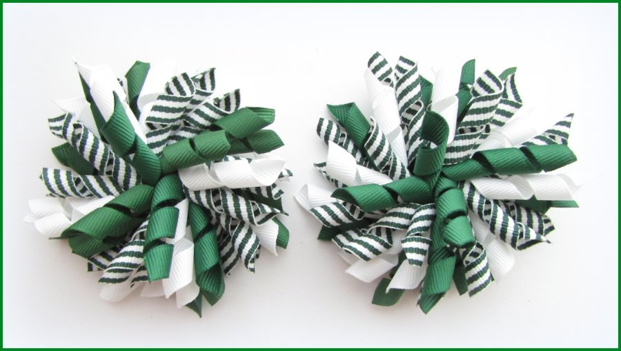 Dark Green Stripe Korker Hair Bows