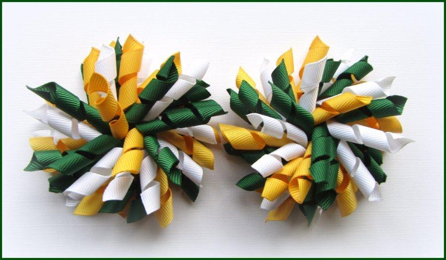 Dark Green Yellow Gold White School Korker Hair Bows