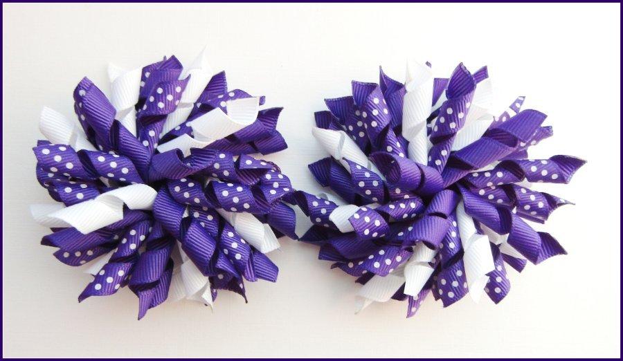 Dark Purple Polka Dots Korker Hair Bows