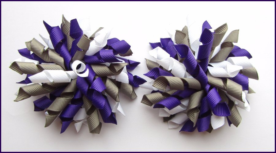 Dark Purple Grey & White Korker Hair Bows