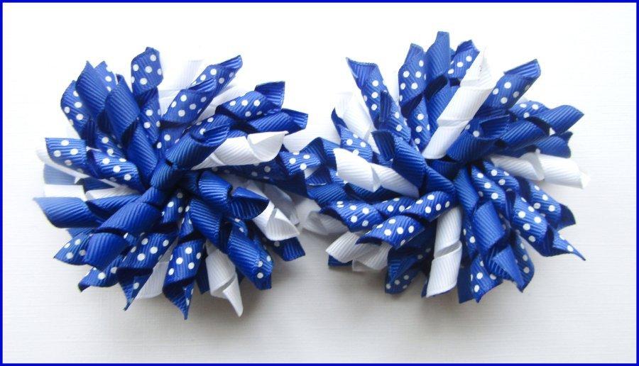 Dark Royal Blue Polka Dots Korker Hair Bows
