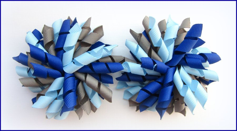 Dark Royal Blue, Dark Grey & Light Blue Korker Hair Bows