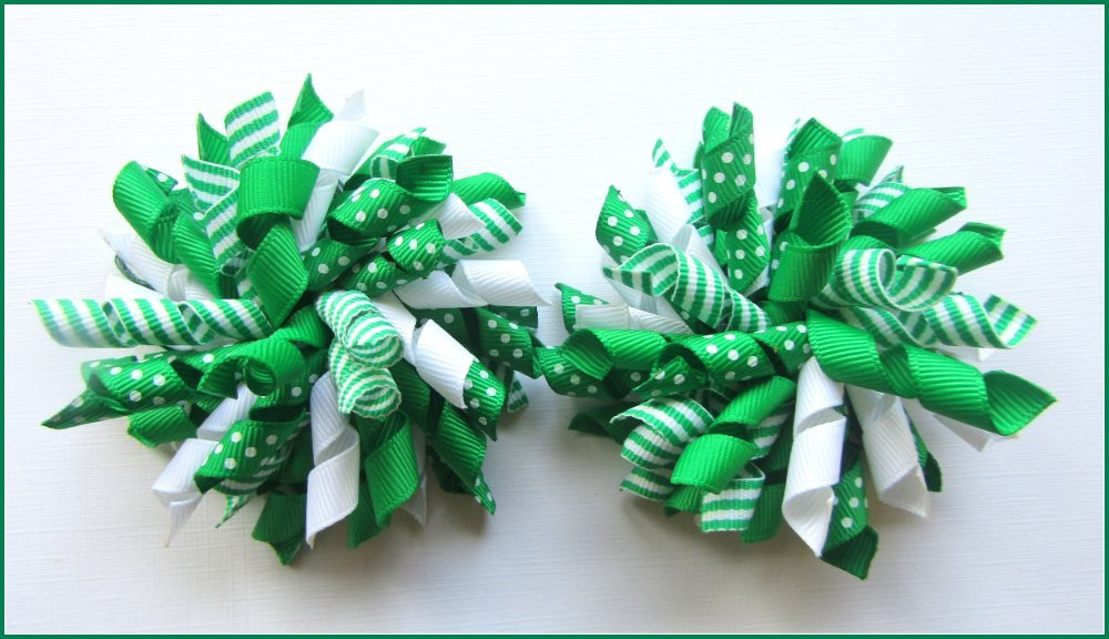 Emerald Green Dot Stripe St Patrick's Day Korker Hair Bows
