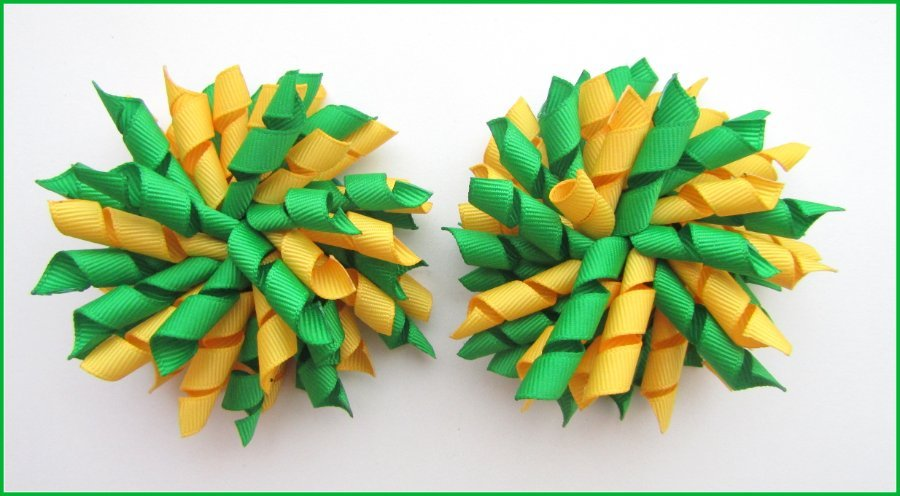 Emerald Green Yellow Gold School Korker Hair Bows
