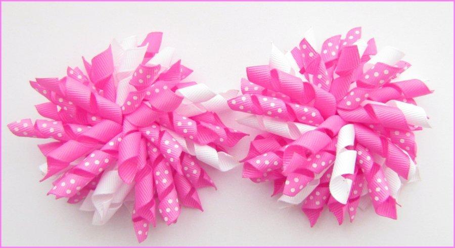 Hot Pink Polka Dots Korker Hair Bows