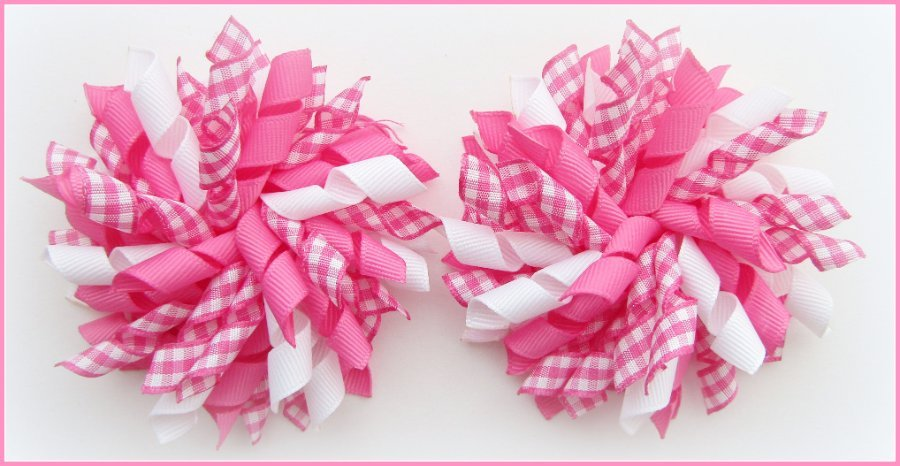Hot Pink Gingham Korker Hair Bows