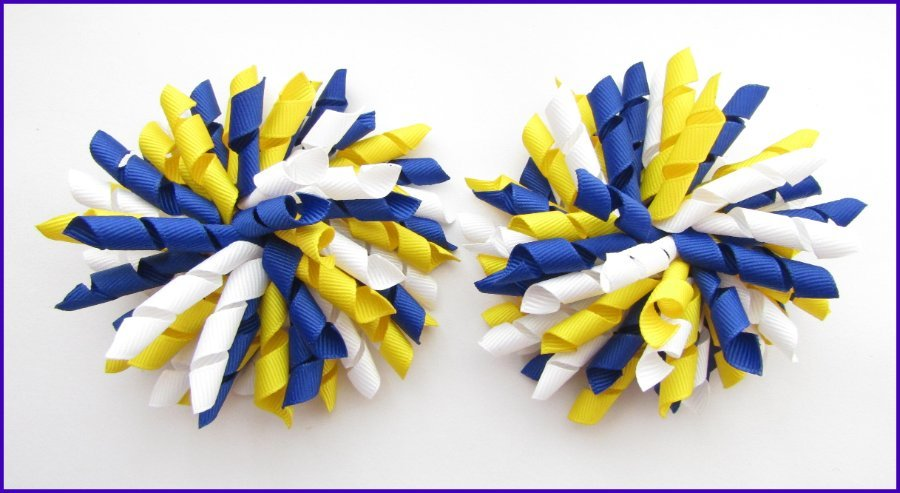 Dark Royal Blue Yellow & White Korker Hair Bows
