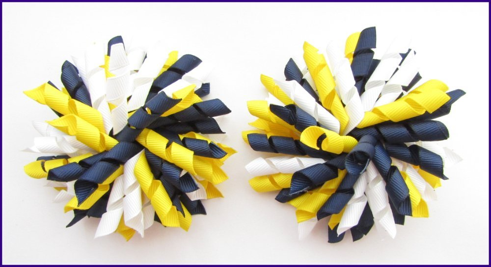 Navy Blue Yellow & White Korker Hair Bows