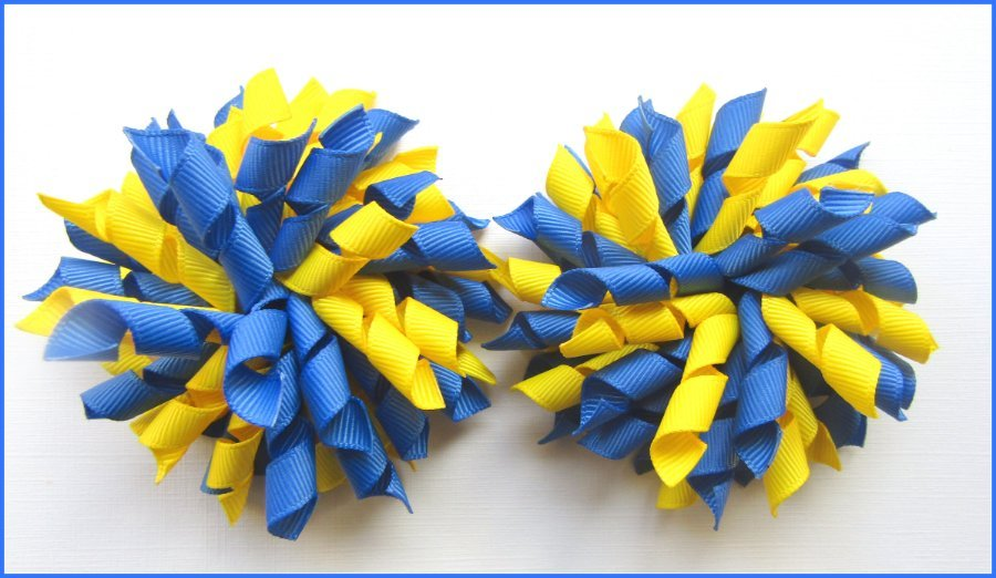 Light Royal Blue & Daffodil Yellow Korker Hair Bows