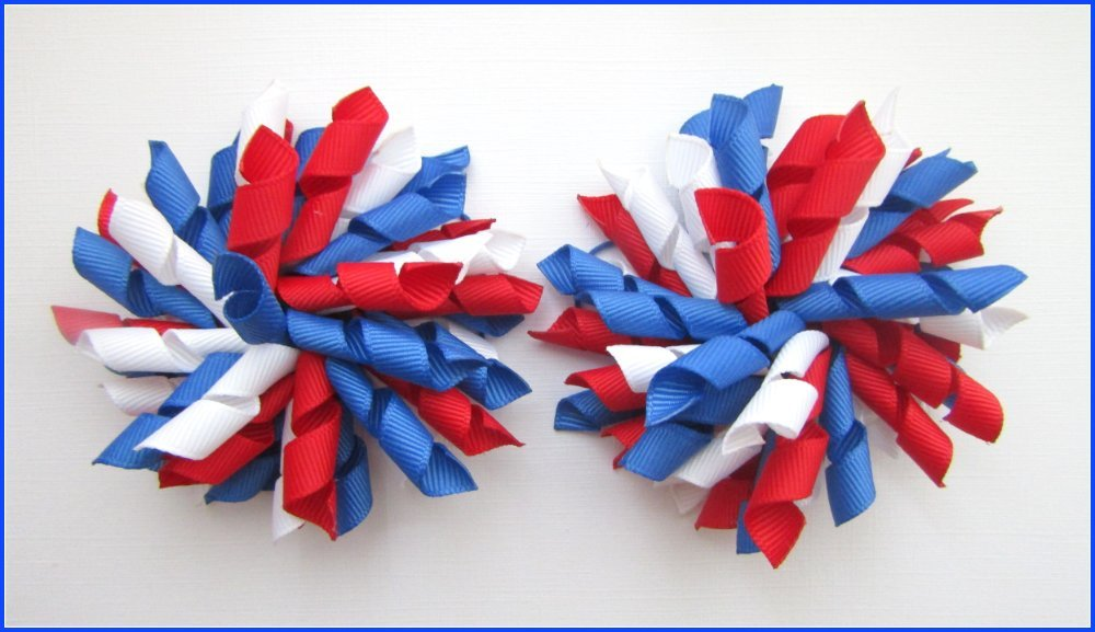 Light Royal Blue Red & White Korker Hair Bows