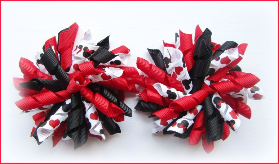 Red Black Mickey  Minnie Mouse Korker Hair Bows