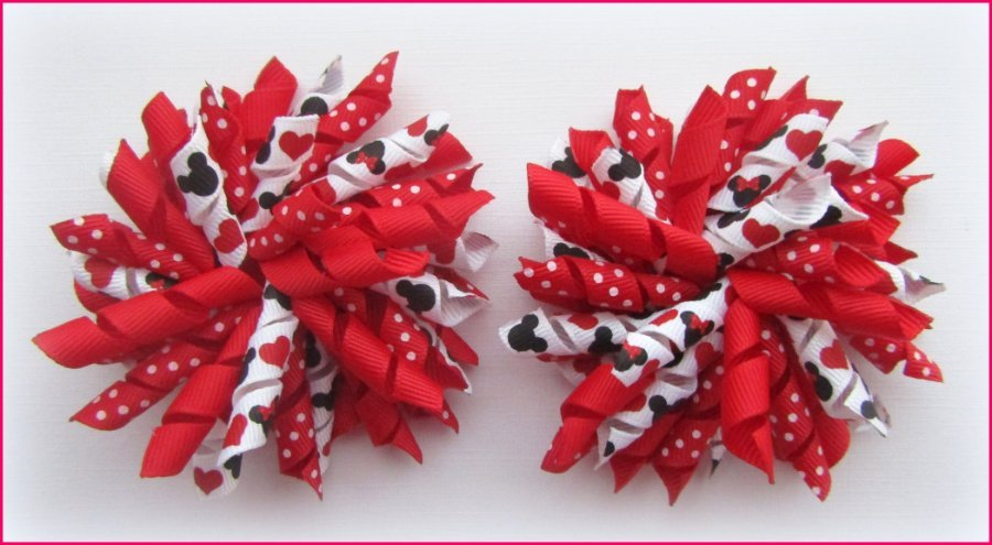 Red Polka Dot Mickey Minnie Mouse Korker Hair Bows