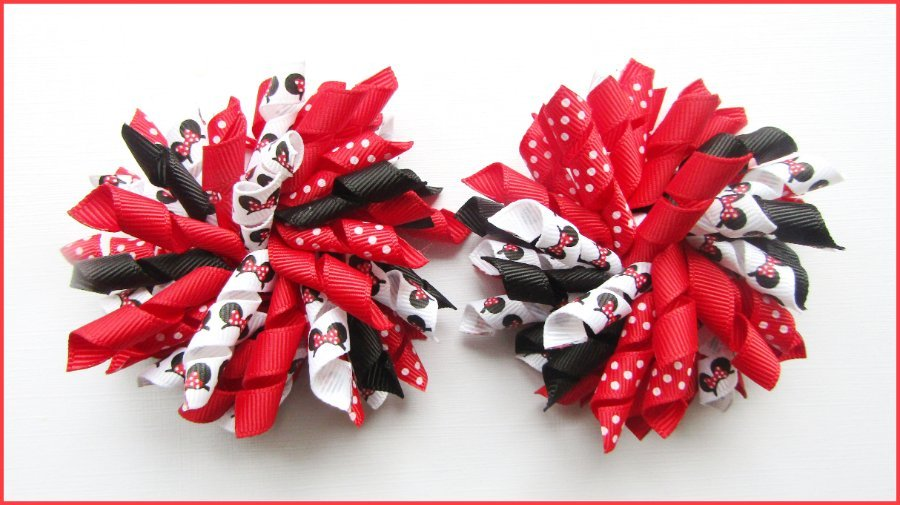 Red Black Minnie Mouse Ears Korker Hair Bows