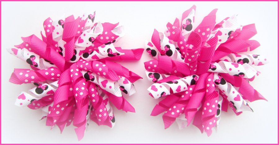 Bright Pink Minne Mouse Korker Hair Bows