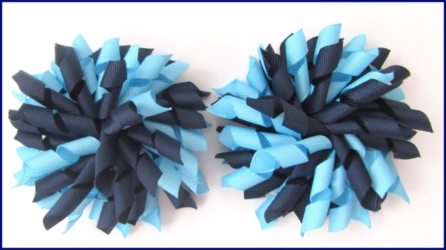 Navy & Blue School Korker Hair Bows