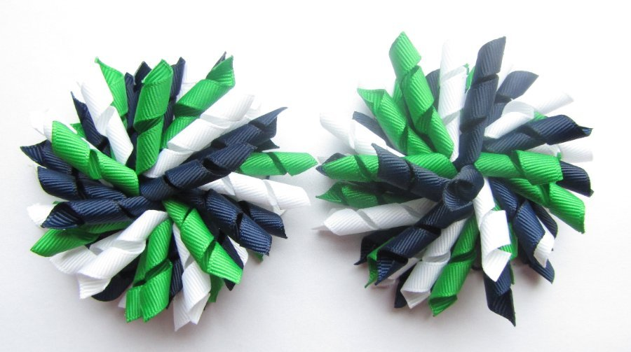Navy Blue Emerald Green White Korker Hair Bows