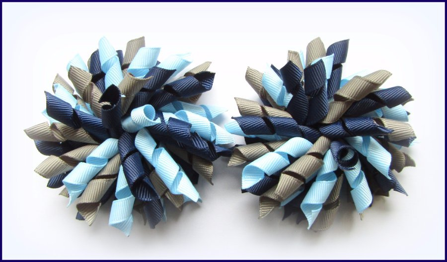 Navy Blue Dark Grey Light Blue Korker Hair Bows