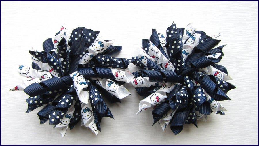 Hello Kitty Navy Dot Mix Korker Hair Bows