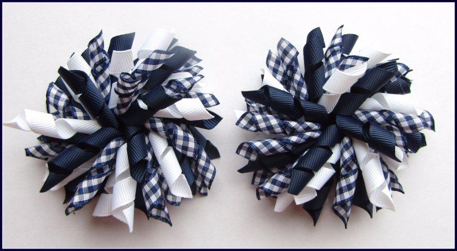 Navy Blue Gingham Korker Hair Bows