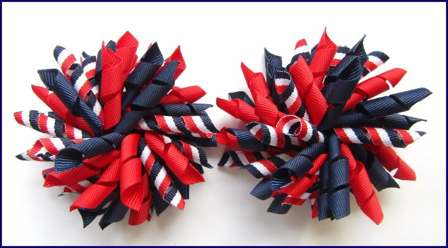 Navy Blue Red White Tri Stripe Korker Hair Bows