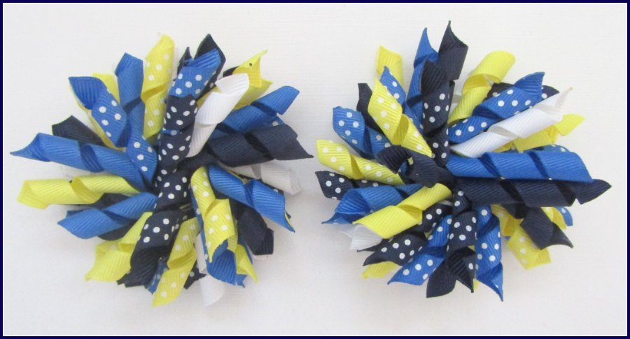 Navy Light Royal Lemon Polka Dot Korker Hair Bows