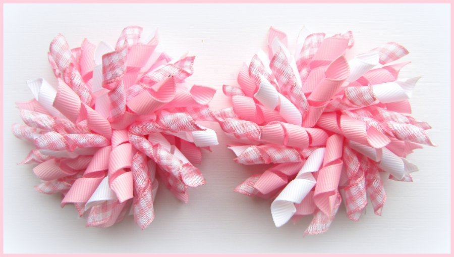 Rose Pink Gingham Korker Hair Bows