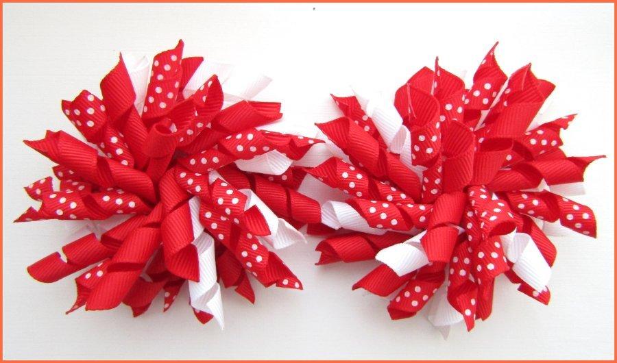 Red Polka Dots Korker Hair Bows